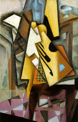 Gris Guitar on a chair, 1913, 100 x 65 cm, Private