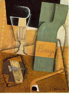 Gris The bottle of Banyuls, 1914, Pasted papers