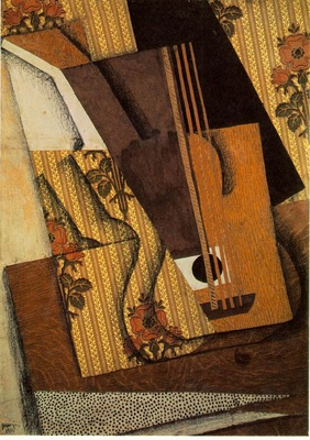 Gris The guitar, 1914, Papier colle, gouache, fusain, and pe