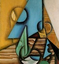 Gris Bottle and glass on a table, 1913 14, 61 5x38 5 cm, Gal