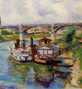 Guillaumin Jean Moored ships at canal Sun