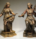 Oriental Women A Pair Of Bronzes