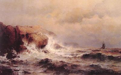 Ship off a Stormy Coast
