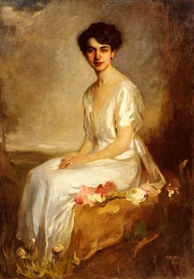 Halmi Arthur Lajos Portrait Of An Elegant Young Woman In A White Dress