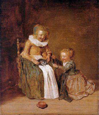 Hals Dirck Children with cat Sun