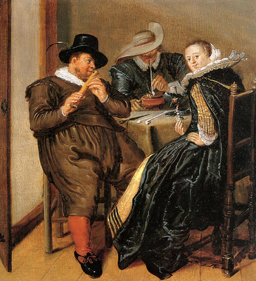 Hals Dirck Merry company with flute player Sun