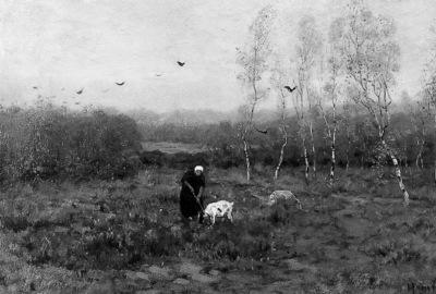 Hamel Willem Landscape with woman and goat Sun