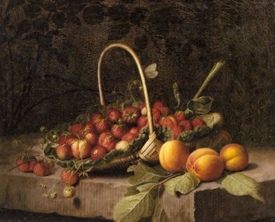 Hammer William A Basket Of Strawberries And Peaches On A Stone Ledge