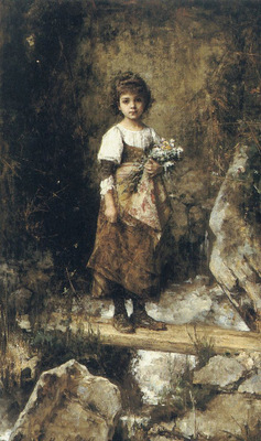 A Peasant Girl On A Footbridge