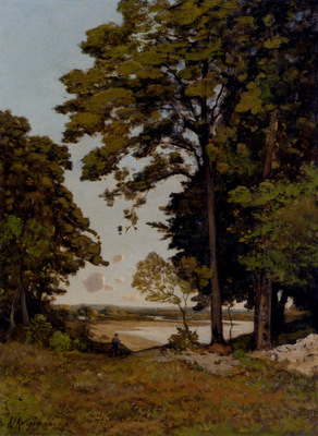 Harpignies Henri Joseph A Summers Day On The Banks Of The Allier