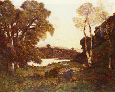 Harpignies Henri Joseph French 1819 to 1916 Goats Grazing Beside A Lake At Sunset SnD 1899 O c