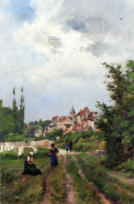 Harpignies Henri Joseph Washer Women On A Study Track With A Village Beyond