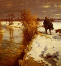Hartwick Hermann A Hunter In A Winter Landscape