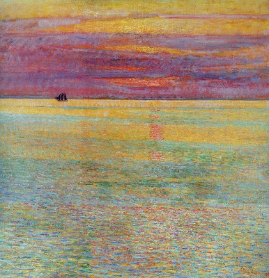 Hassam Childe Sunset at sea Sun