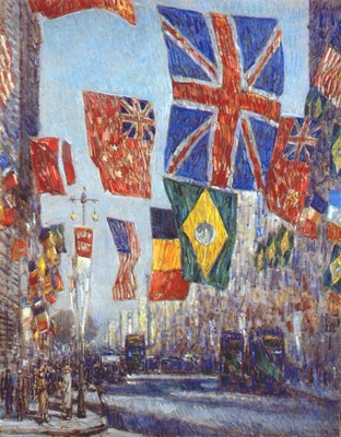 hassam avenue of the allies flags of uk and dominions, brazil and belgium behind