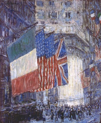 hassam avenue of the allies flags on the waldorf