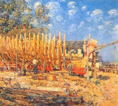 hassam building the schooner, provincetown