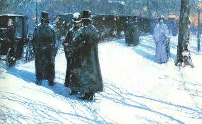 hassam cab stand at night, madison square, new york