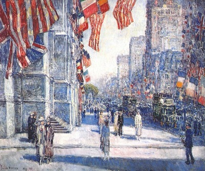 hassam early morning on the avenue in may