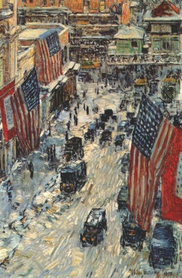 hassam flags on 57th street winter of 1918