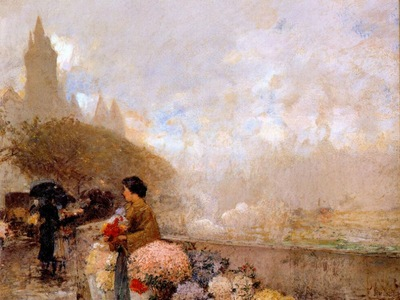 hassam flower girl by the seine, paris
