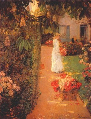 hassam gathering flowers in a french garden