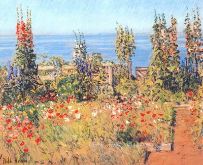 hassam hollyhocks, isles of shoals