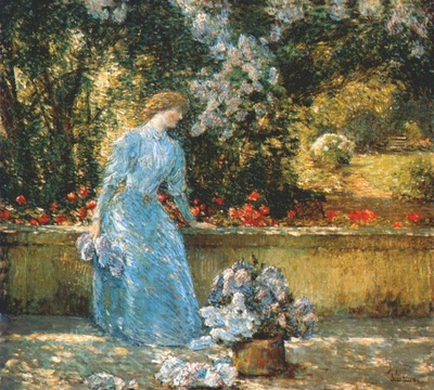 hassam lady in the park in the garden