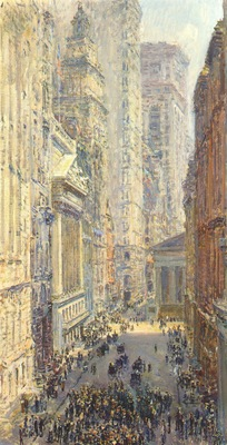 hassam lower manhattan broad and wall streets