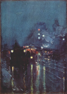 hassam nocturne, railway crossing, chicago c1892