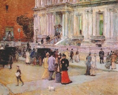 hassam the manhattan club the stewart mansion c1891