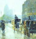 hassam horse drawn cabs at evening, new york c1890