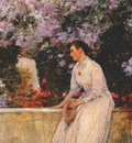 hassam in the garden c1888