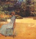 hassam the artists wife in a garden, villiers le bel