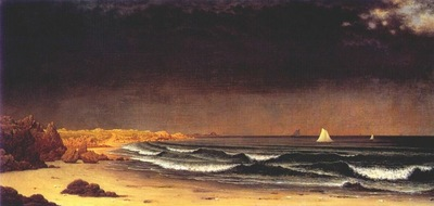 heade approaching storm beach near newport c1860s