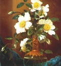 heade white cherokee roses in salamander vase c1883