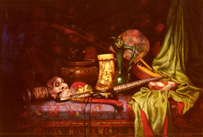 Hedou Jules Paul Ernst Still Life Of Japanese Exotica