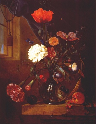 heem bouquet of flowers in glass vase c1650