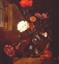 heem bouquet of flowers in glass vase c1650