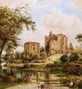 Hendriks Wybrand Landscape with ruin of castle Brederode Sun