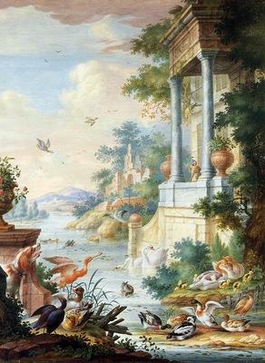 Henstenburgh Herman Riverlandscape with birds Sun