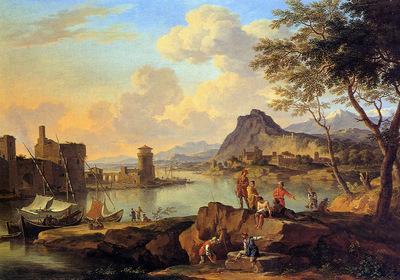Heusch de Jacob Italian river view Sun