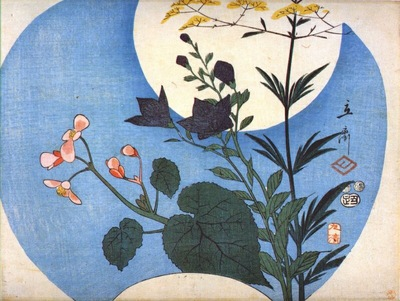 hiroshige autumn flowers in front of full moon
