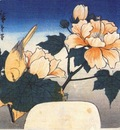 hiroshige yellow bird and cotton rose