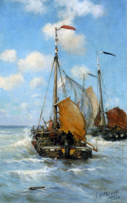 Hitchcok George Ships at the coast of Egmond Sun
