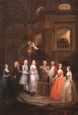 hogarth the wedding of stephen beckingham mary cox, 1729