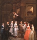 hogarth the wedding of stephen beckingham mary cox, 1729