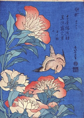 hokusai peonies and canary early 1830s