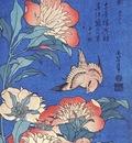 hokusai peonies and canary early 1830s