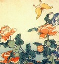 hokusai poppies and yellow butterfly 1833